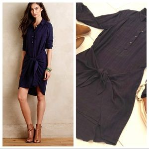 Anthropologie Maeve Navy Tie-front Shirt Dress